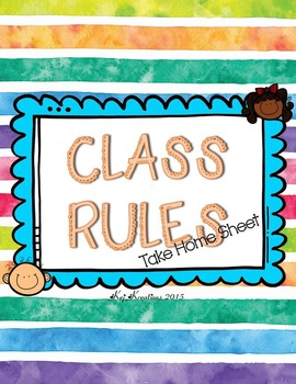 Class Rules Take Home Sheet Set