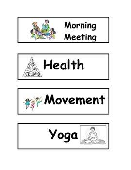 Class Schedule Cards