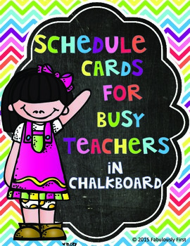 Class Schedule Cards (Chevron and Chalkboard Theme)
