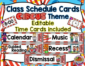 Class Schedule Cards-Circus Theme