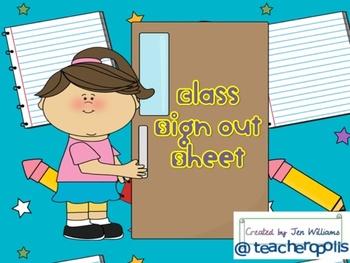 Class Sign Out Sheet