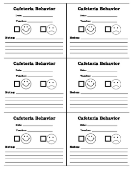 Class Smiley or Frowning Faces for Cafeteria Behavior