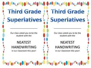 Class Superlatives - Third Grade