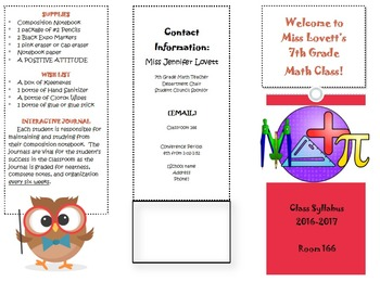 Class Syllabus Brochure Editable