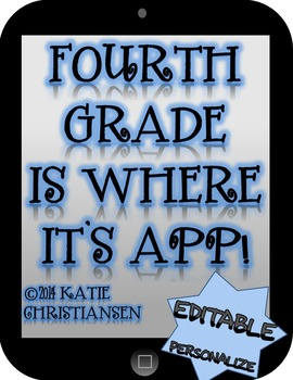 Class Theme - Fourth Grade is where it's APP!  EDITABLE!