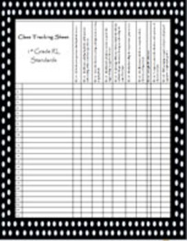 Class Tracking Sheet and Rubric for 1st Grade RL Standards