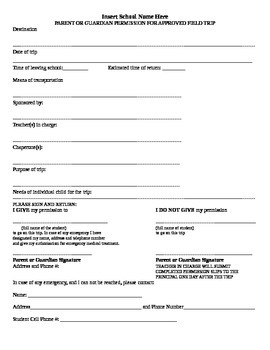 Class Trip Permission Slip Template