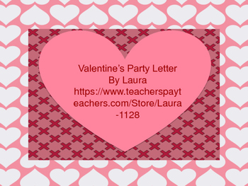 Class Valentine's Party Letter