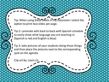 Class schedule in Spanish