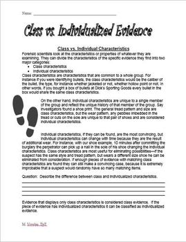 Class vs. Individualized Evidence Forensics Worksheet