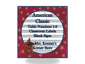 Classic American Table Numbers and Classroom Labels