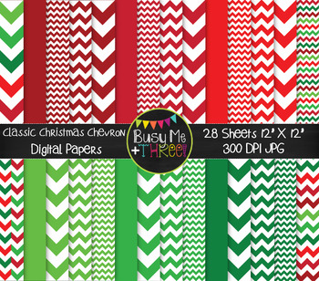 Classic Christmas Chevron on White Digital Papers {Commerc
