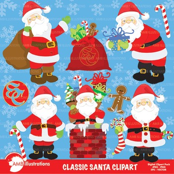 Classic Santa Cliparts, Christmas cliparts, AMB-198