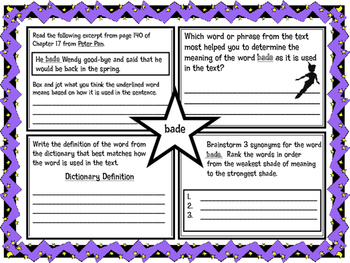 Classic Starts Peter Pan Chapter 17 Vocabulary Organizer N
