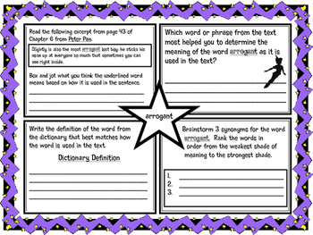Classic Starts Peter Pan Chapter 6 Vocabulary Organizer NY
