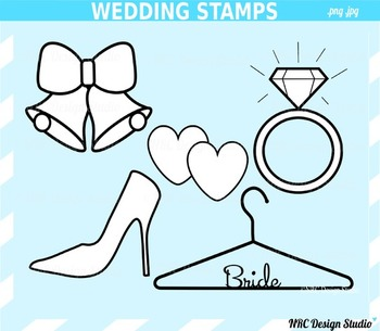 Classic Wedding Digital Stamps Clip Art