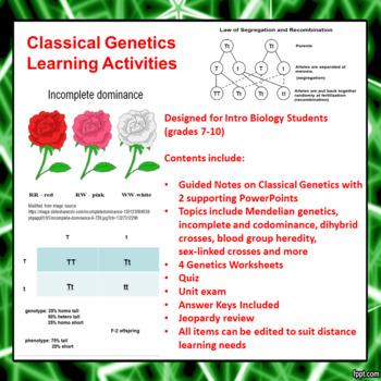 Classical Genetics Learning Activities (Mendelian and Beyo
