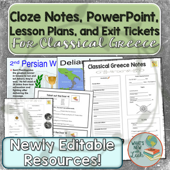 Classical Greece Lesson Plans, PowerPoint, and Cloze Notes