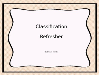 Classification Refresher