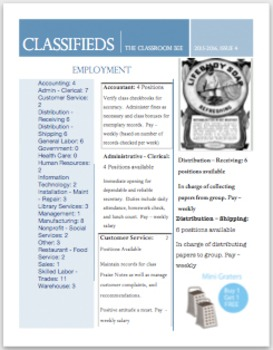 Classified Ads For Classroom Jobs, Application Form, & Stu