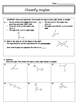 Classify Angles (Guided Notes) - 7th grade Math