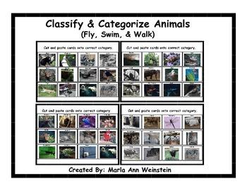 Animals (Fly, Swim, & Walk) Classify and Categorize