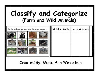 Farm and Wild Animals Classify and Categorize