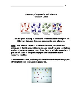 Classifying Elements, Compounds, and Mixtures Activity