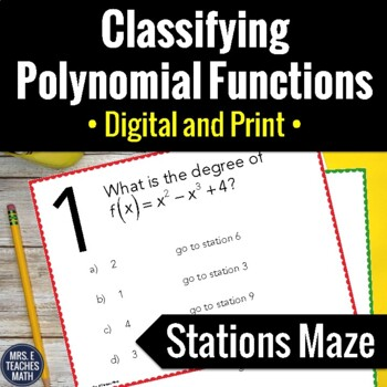Classifying Polynomial Functions Stations Maze