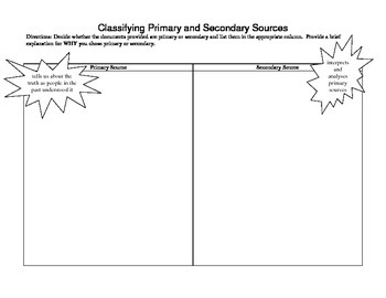 Classifying Primary and Secondary Sources