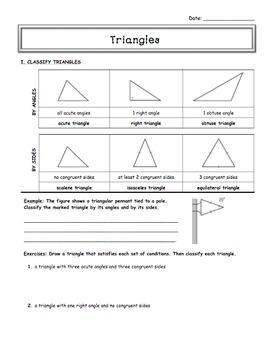 Classifying Triangles (Guided Notes) - 7th grade Math