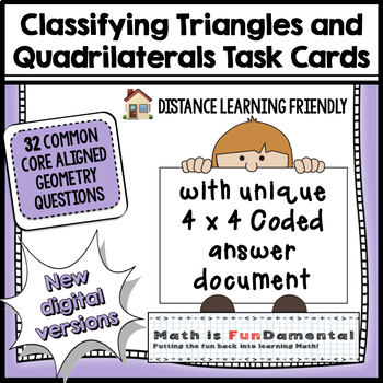 Classifying Triangles & Quadrilaterals Task Cards - w/ cod