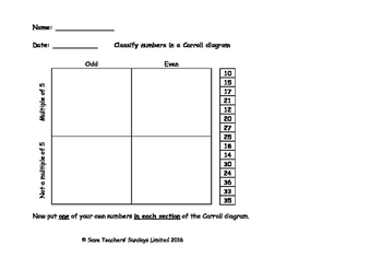 Classifying numbers in Carroll diagrams lesson plans, work
