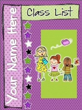 Classlist Binder Cover Editable and Classlist Template Edi