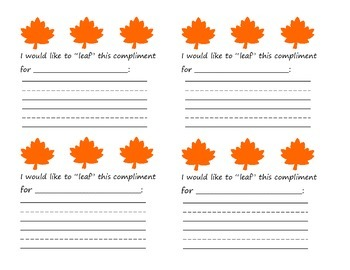 Classmate Compliments/Bucket Fillers: Fall Leaves