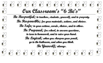 """Classroom 6 Be's"" Expectations Poster/Anchor Chart for Classroom"