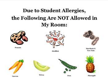 Classroom Allergies Warning Sign