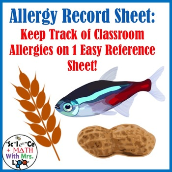Classroom Allergy Record Form: Keep Track of Important Hea
