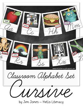 Classroom Alphabet Set - Cursive Style Script {Polaroid Style}