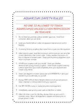 Classroom Aquarium Safety Rules