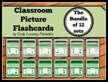 Classroom BUNDLE (Set I- XII) Picture Flashcards