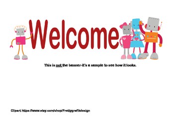 Classroom Banner-Welcome - Robot Theme