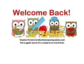 Classroom Banner-Welcome back! Owl Theme