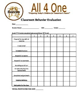 Classroom Behavior Evaluation