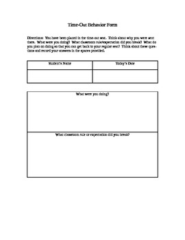 Classroom Behavior Form