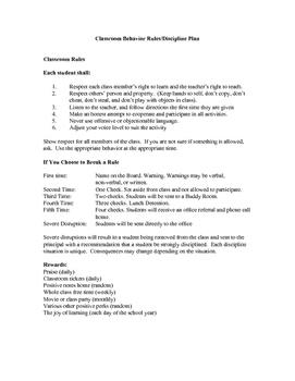 Classroom Behavior Parent, Student, and Teacher Contract