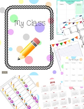 Classroom Binder-Teacher Planner, polka dots with cute kids