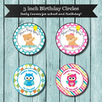 Classroom Birthday Favors, 3 inch Circles, Cute Happy Birt