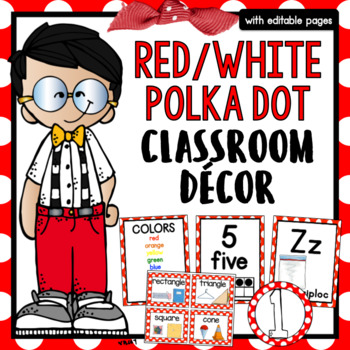Red and White Polka Dots  Class Decor~ Editable