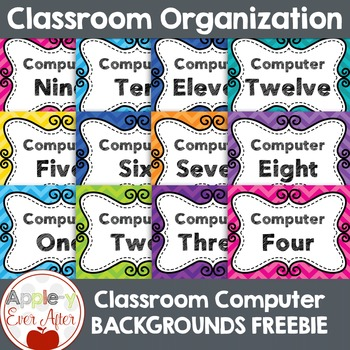 Classroom COMPUTER Screen Backgrounds 1-20 Bright Chevron